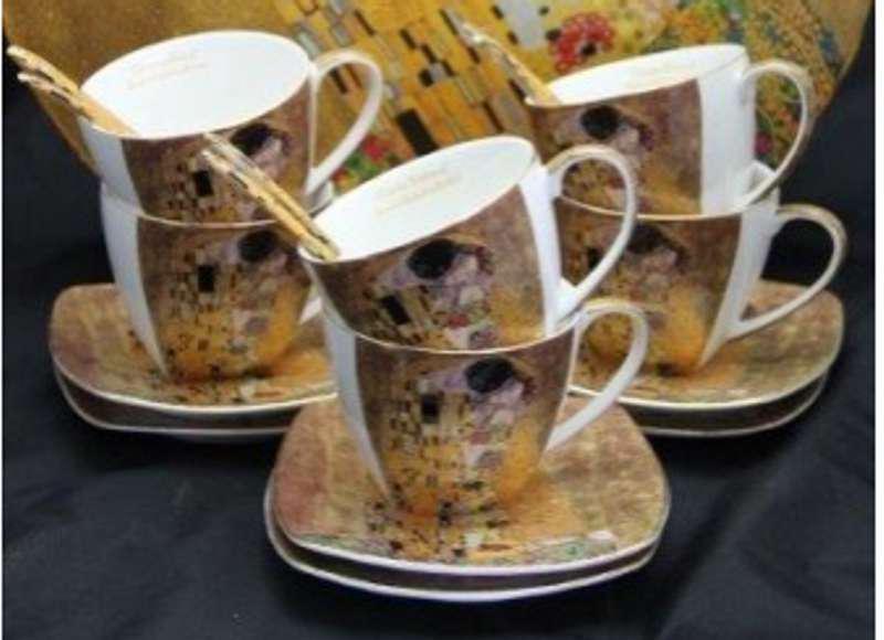 P.P.W3A18-24665 Porceláncsésze+alj kanállal,6 személyes, világos, 225ml, Klimt:The Kiss