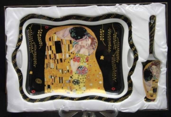 P.P.W4B29-16520 Porcelántálca 35x24cm,lapáttal,Klimt:The Kiss