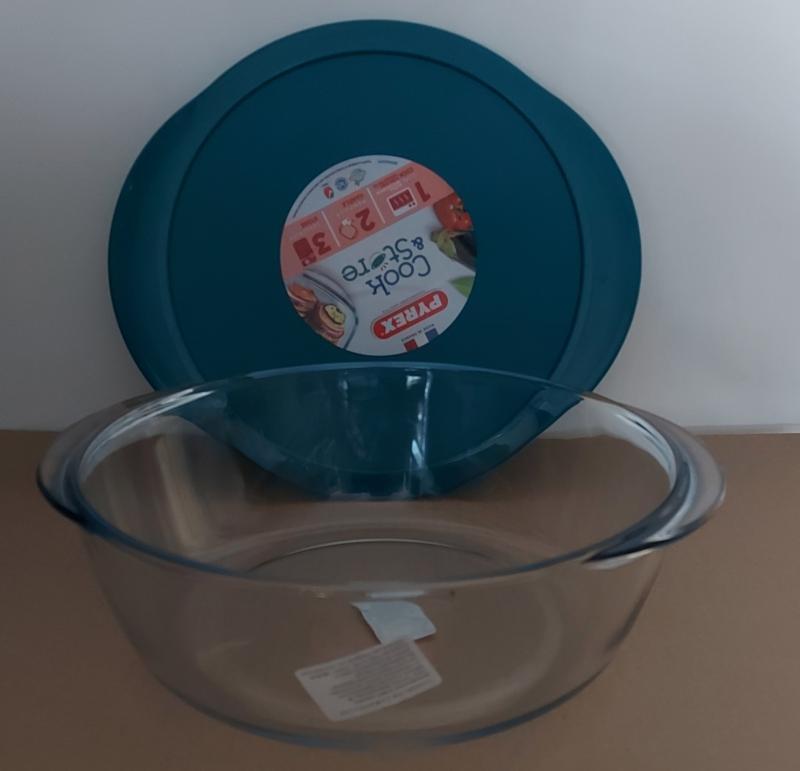 PYREX COOK & STORE kerek üvegedény+műa.fedő, 26 cm, 203060