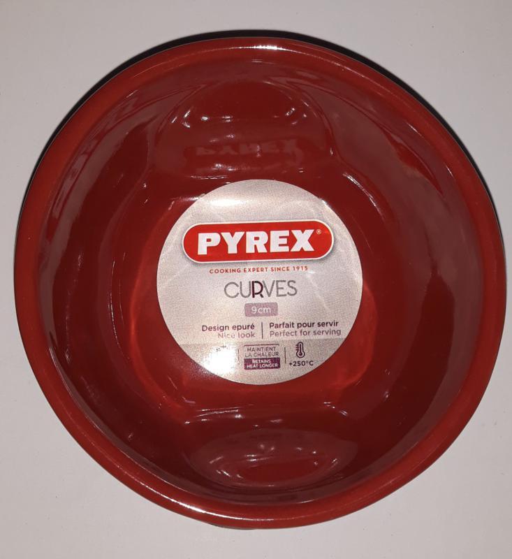 Pyrex Curves Red souffle (szuflé) tálka, kerámia, 9X4,5 cm, 203238