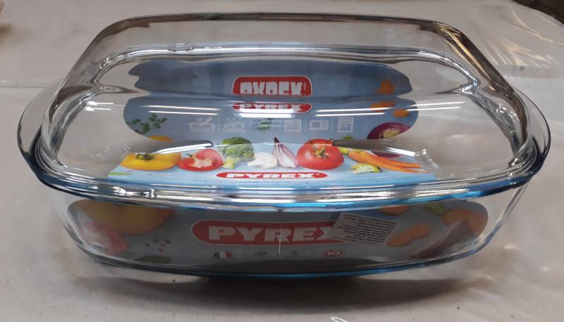 Pyrex Essential sütőtál (jénai) fedővel, szögletes, 6,5 liter (4,3+2,2 liter), 203241