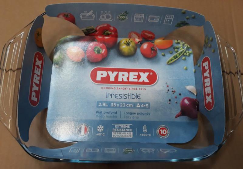 PYREX IRRESISTIBLE szögletes sütőtál füllel, 35X23 cm, 2,9 liter, 203192