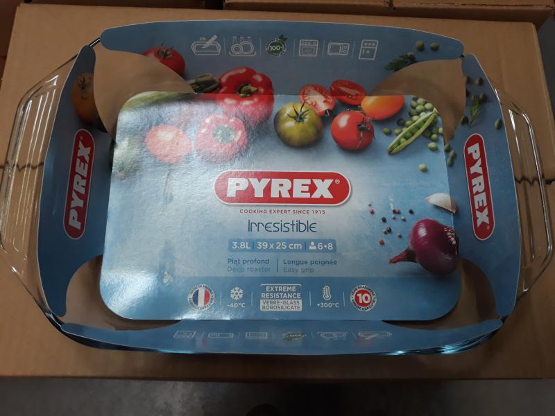 PYREX IRRESISTIBLE szögletes sütőtál füllel, 39X25 cm, 3,8 liter, 203193