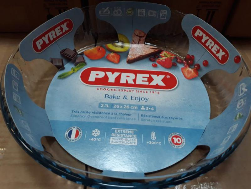 PYREX kerek üveg piteforma, 26 cm, 2,1 liter, 203011