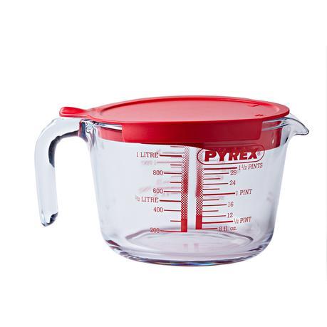 Pyrex mércés üveg kancsó, műanyag tetővel, 1 liter, 203271