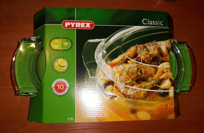 PYREX ovál kacsasütő fedővel, 5,8 liter ( 4,4 liter+1,4 liter), 203040
