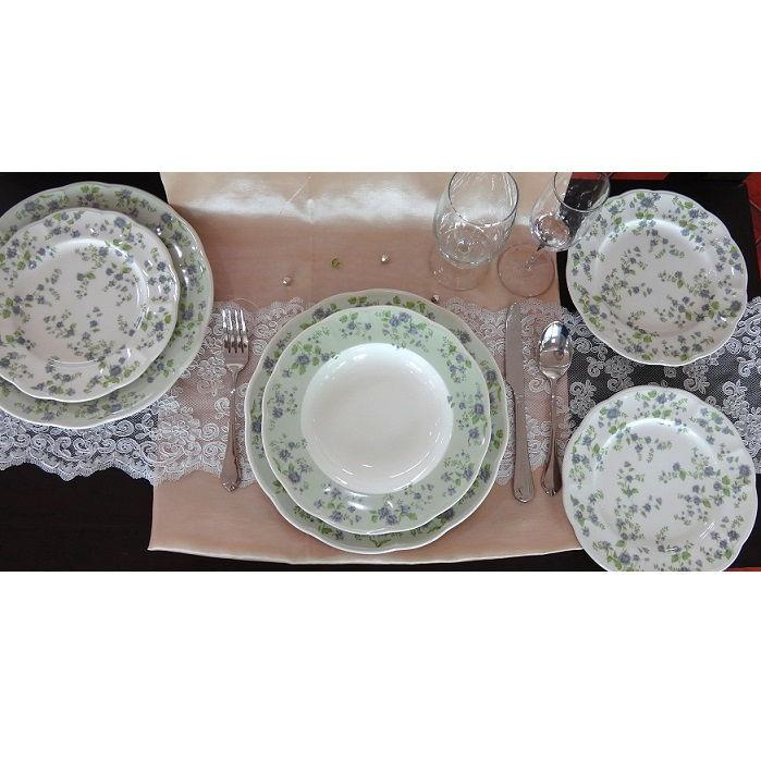 QUALITY CERAMIC LA BELLE kerámia étkészlet, 18 részes tányérkészlet, zöld-kék virág, 211161