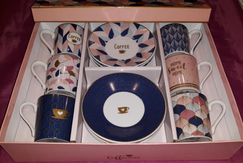 R2S Easy Life Coffee Mania Sweet Home, porcelán csésze+alj szett díszdobozban, 10 cl, 6 db, 153426