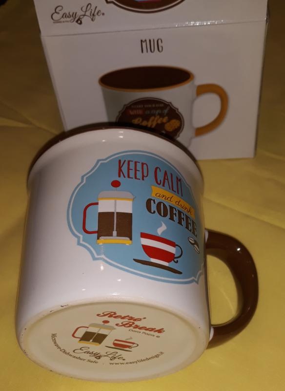 R2S Easy Life Retro Coffee Turcuois/Orange kerámia bögre díszdobozban, 300 ml, 153431