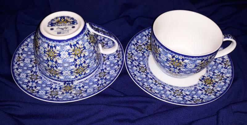 R2S Maiolica Blue teás szett, 2 db csésze+alj, 240 ml, dobozban