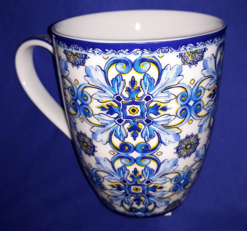 R2S Maiolica Blue White porcelán bögre, 350 ml,