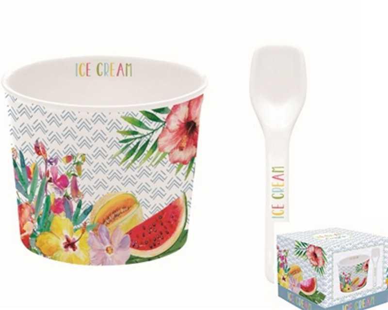 R2S.0083TRO1 Porcelán fagyistálka 8,5cm, kanállal, dobozban, Ice Cream Tropical01