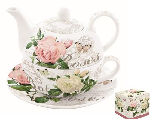 R2S.104JARB Porcelán egyszemélyes teáskészlet 350ml+350ml,dobozban,Jardin Botanique