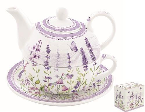 R2S.104LAVF Porcelán egyszemélyes teáskészlet 350ml+350ml,dobozban,Lavender Field
