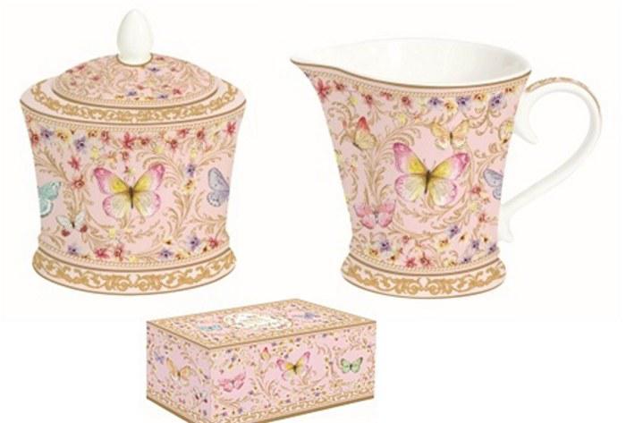 R2S.1351MAJB Porcelán tejkiöntő - cukortartó szett 200ml,+200ml,dobozban,Majestic Butterflies