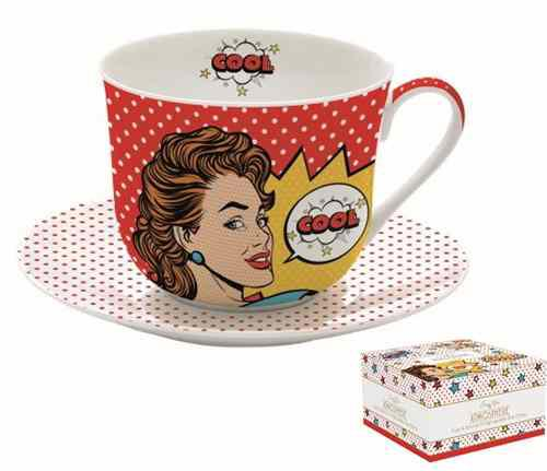 R2S.1454POPT Porcelán reggelizőcsésze+alj, 400ml, dobozban, Pop Art, Atmosphere