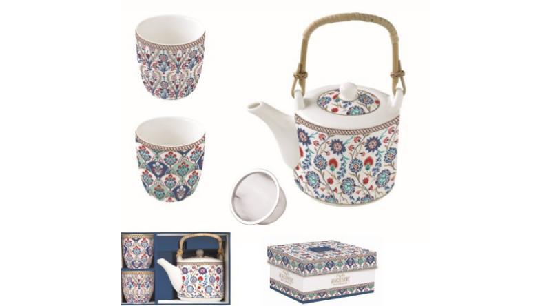 R2S.1467IZNI Porcelán teáskanna 600ml, fémszűrővel, 2 pohárral 160ml, dobozban, Iznik, Atmosphere