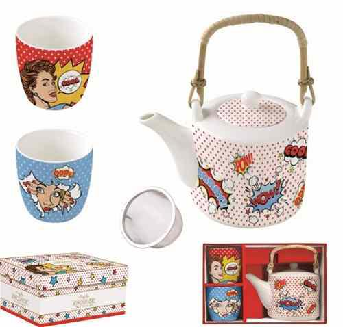 R2S.1467POPT Porcelán teáskanna 600ml, fémszűrővel, 2 porcelánpohárral 160ml, dobozban, Pop Art, Atmosphere