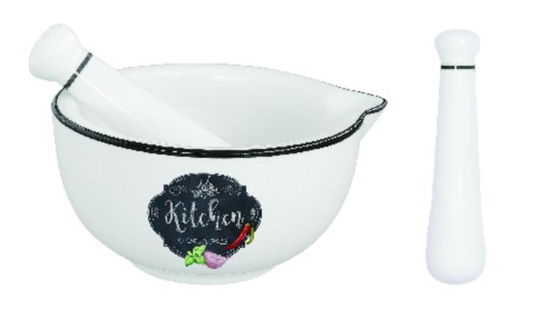 R2S.1607KIBK Porcelánmozsár törővel 12cm, dobozban, Kitchen Basics