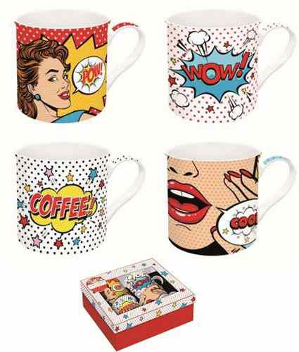 R2S.179POPT Porcelán bögreszett 4 db-os, 300ml, dobozban, Pop Art, Atmosphere
