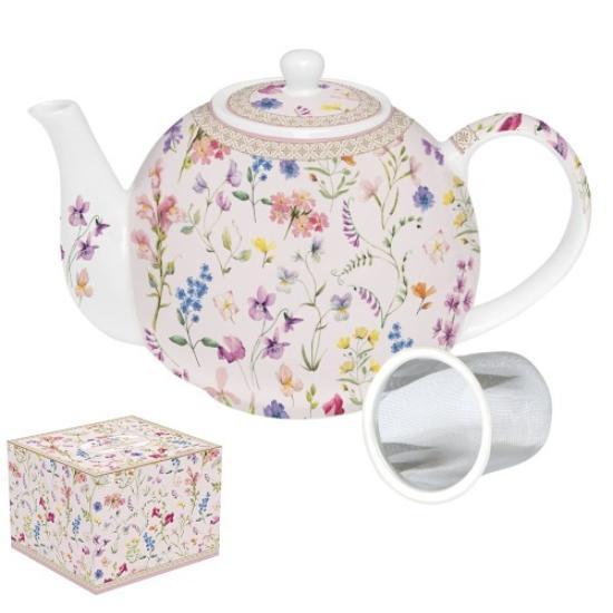 R2S.281SYMP Porcelán teáskanna fémszűrővel, 1l, dobozban, Symphonie Florale