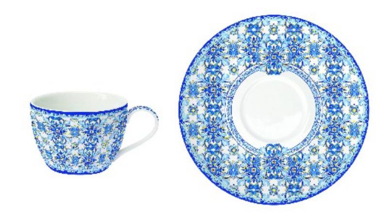 R2S.938MAIB Porcelán presszóscsésze + alj, 110ml, 1 szett, Maiolica Blue