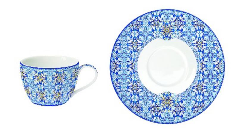 R2S.939MAIB Porcelán teáscsésze aljjal, 240ml, 1db, Maiolica Blue