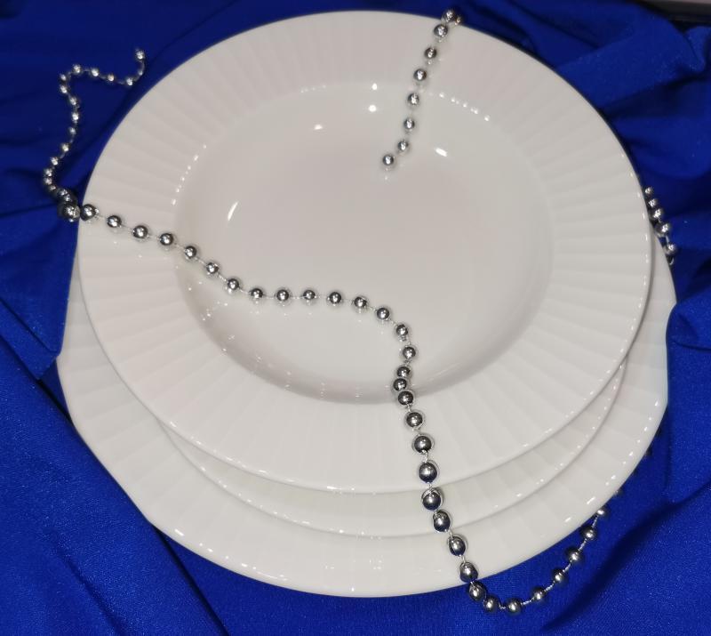 RAK METROPOLIS fehér porcelán étkészlet, 18 részes tányérkészlet, 429138