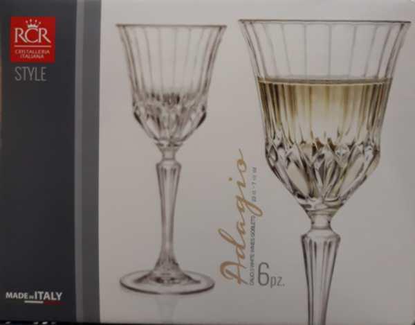 RCR Cristalleria Italiana Adagio talpas fehérboros pohár, 22 cl, 6 db,