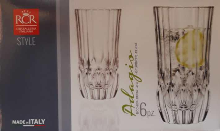 RCR Cristalleria Italiana Adagio üdítős pohár készlet, 40 cl, 6 db,
