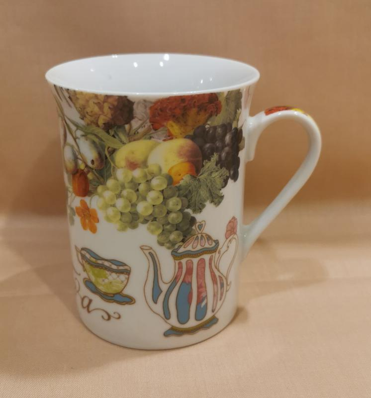 Szőlő mintás teás bögre, 250 ml, 1 db