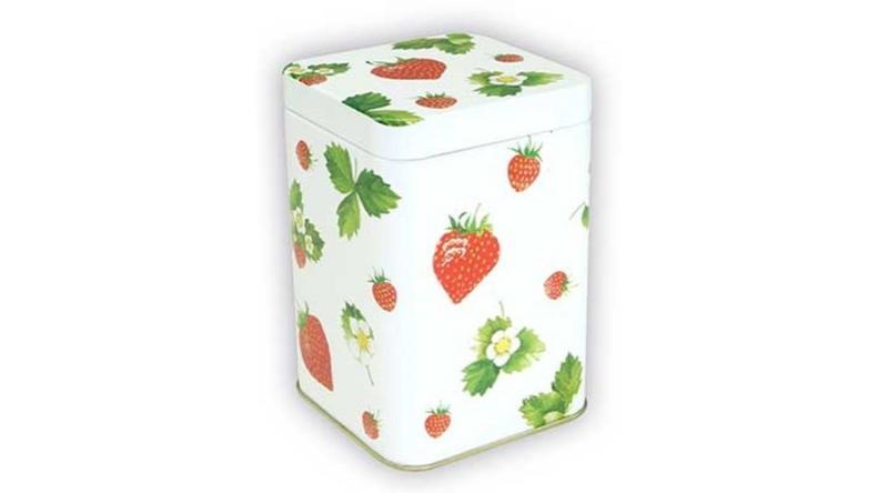 T.M.56181728 Sweet Strawberries konyhai fémdoboz 71x71x93mm