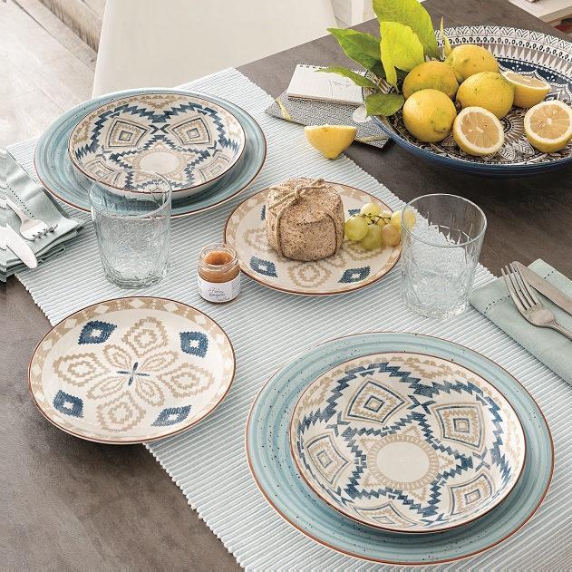 Tognan Casablanca 18 részes kerámia-porcelán étkészlet, kék, 155226