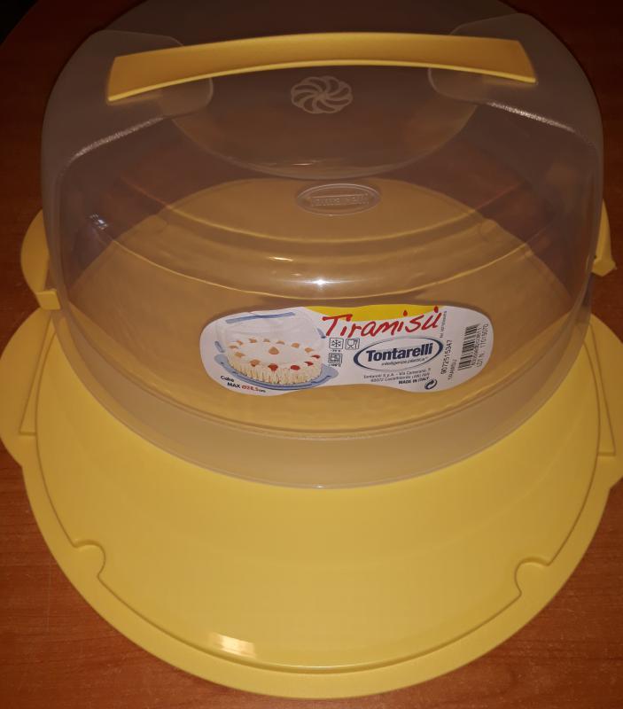 TONTARELLI TIRAMISU, műa. kerek tortatál+búra, 30 cm tortához, sárga,