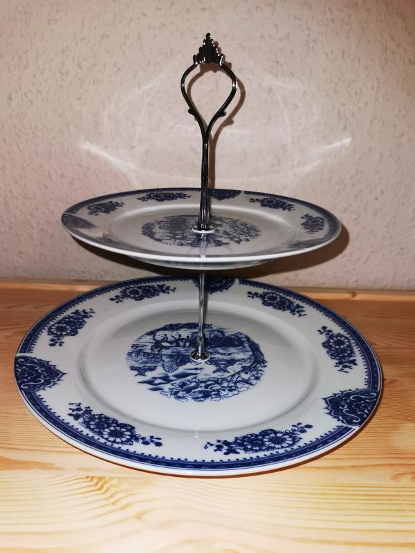Tortaállvány, 2 részes, kék - kerek, doboz nélkül