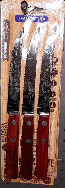 Tramontina Polywood Red fanyelű steak recés kés, 3 db, 12 cm, 21100/375
