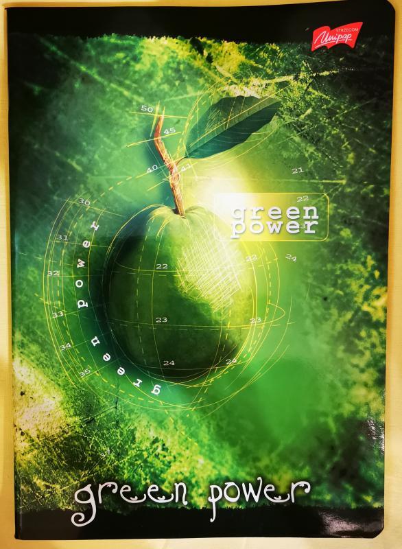 Unipap Green Power vastag nagyalakú négyzetrácsos füzet, 80 lapos, margós