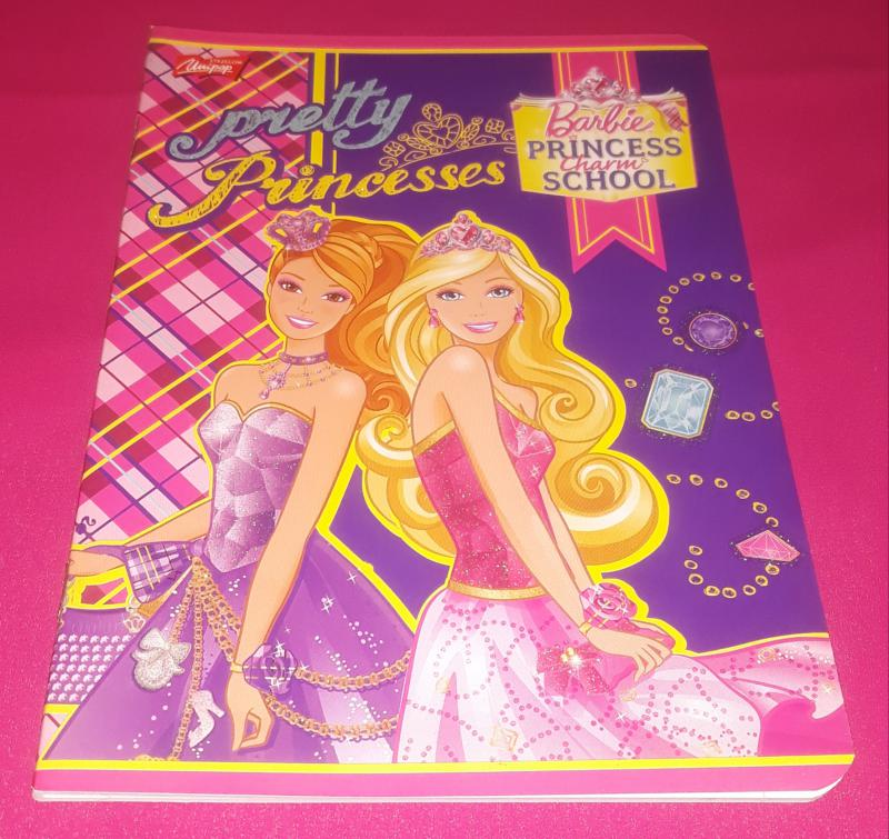 Unipap kisalakú vonalas-margós füzet-Barbie pretty princess-, 32 lapos