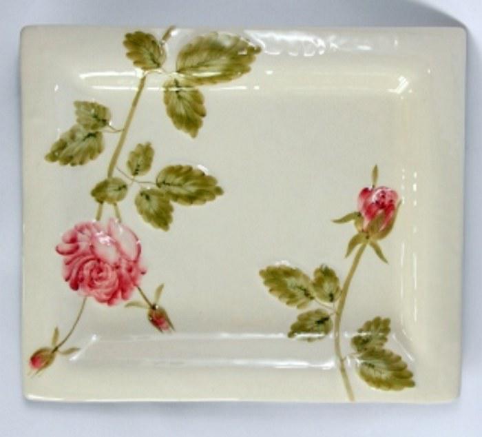 Vanilia Kerámia 23-27 Régi rózsás tál,kerámia,kézzel festett, V.K.23-27