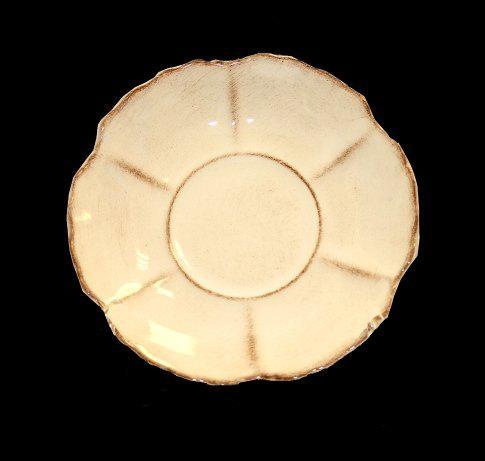 Vanilia Kerámia 27-06, Romantik kávéstányér,natur,kerámia,kézzel festett, V.K.27-06