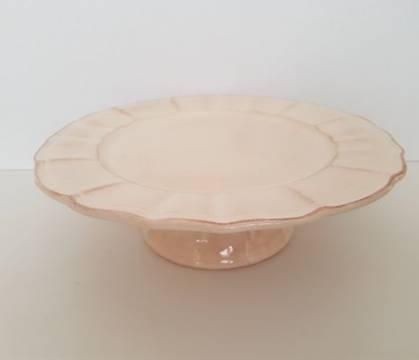 Vanilia Kerámia 27-28, Romantik antikolt tortatál, natur kerámia, kézzel festett, 28cm, V.K.27-28