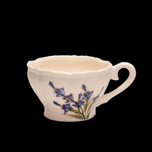 Vanilia Kerámia 28-05, Romantik festett kávés csésze levendula, kerámia, 2 dl, V.K.28-05