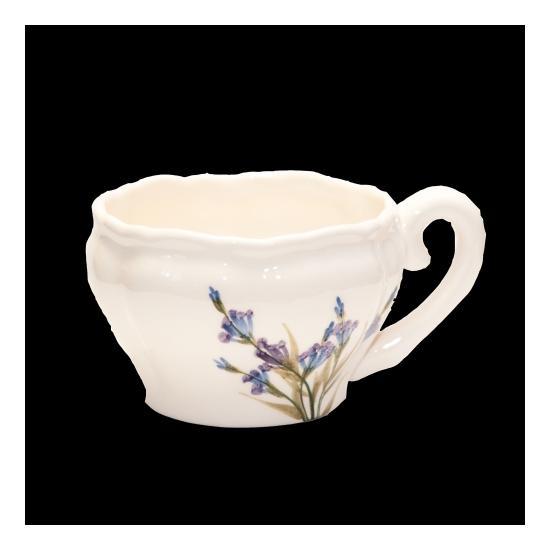 Vanilia Kerámia 28-07, Romantik festett teáscsésze levendula,kerámia, 4,5 dl, V.K.28-07