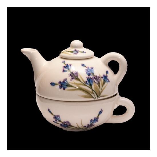 Vanilia Kerámia 28-17, Romantik festett egyszemélyes teás,levendula, V.K.28-17