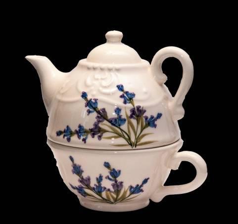 Vanilia Kerámia 28-36, Romantik festett kiskanna-csészével,levendula,kerámia, V.K.28-36