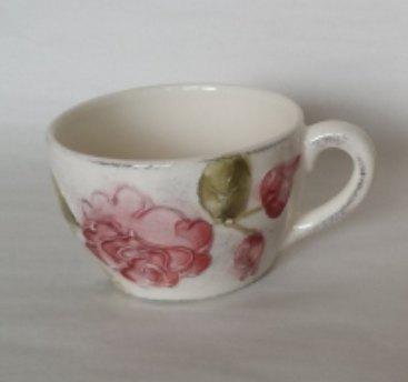 Vanilia Kerámia 30-07, Domború mintás teáscsésze,virágos bordó,kerámia, 3,5 dl, V.K.30-07
