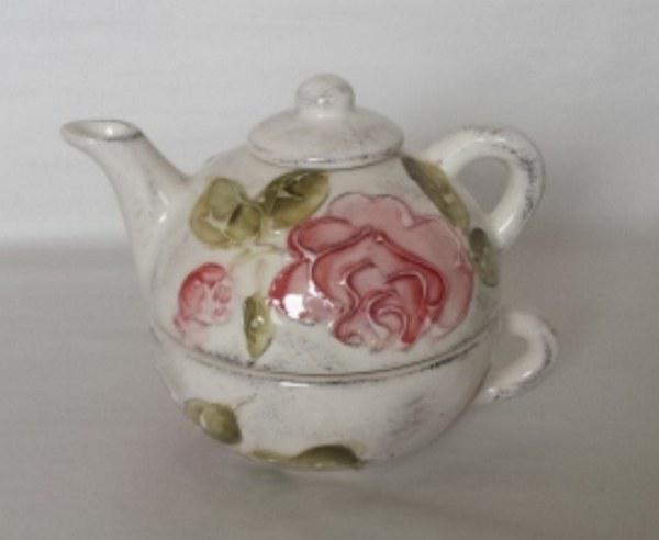 Vanilia Kerámia 30-17 Domború mintás egyszemélyes teás,virágos bordó,kerámia, V.K.30-17