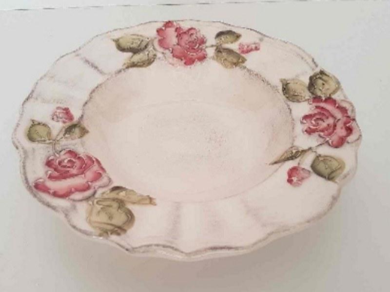 Vanilia Kerámia 30-24 Domború mintás mélytányér,virágos bordó,kézzel festett, V.K.30-24