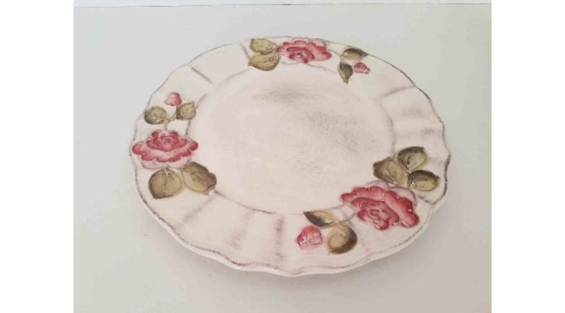 Vanilia Kerámia 30-25 Domború mintás lapostányér, bordó virágos, kézzel festett, V.K.30-25