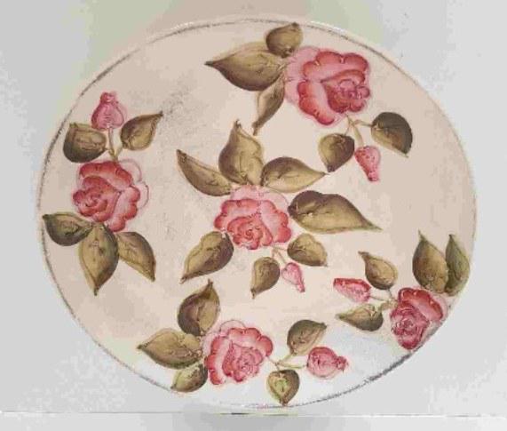 Vanilia Kerámia 30-27 Domború mintás nagytál, domboru mintás, kézzel festett, V.K.30-27